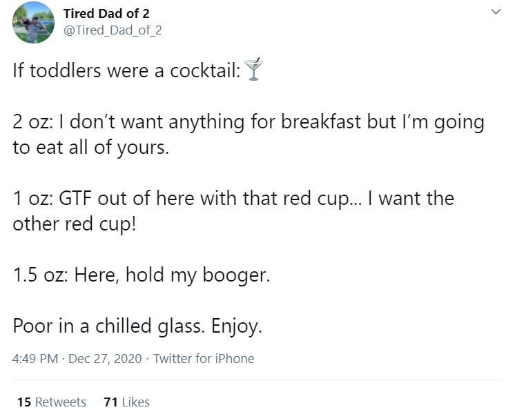 Text - Tired Dad of 2 @Tired_Dad_of_2 If toddlers were a cocktail: Ý 2 oz: I don't want anything for breakfast but l'm going to eat all of yours. 1 oz: GTF out of here with that red cup... I want the other red cup! 1.5 oz: Here, hold my booger. Poor in a chilled glass. Enjoy. 4:49 PM Dec 27, 2020 · Twitter for iPhone 15 Retweets 71 Likes