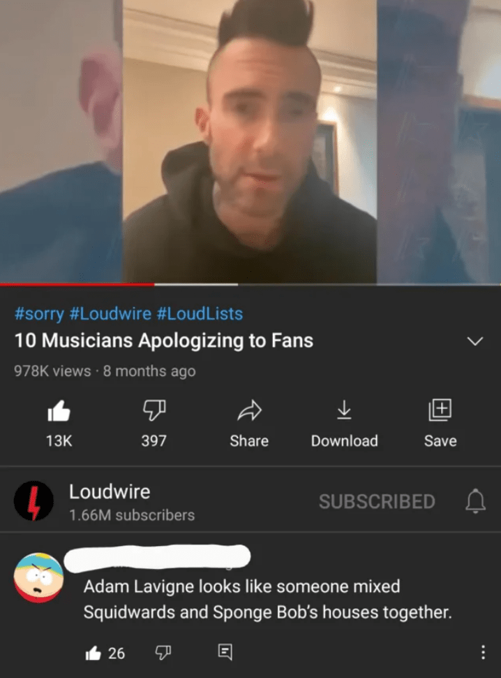 Chin - #sorry #Loudwire #LoudLists 10 Musicians Apologizing to Fans 978K views · 8 months ago 13K 397 Share Download Save Loudwire SUBSCRIBED 1.66M subscribers Adam Lavigne looks like someone mixed Squidwards and Sponge Bob's houses together. L 26 ... +