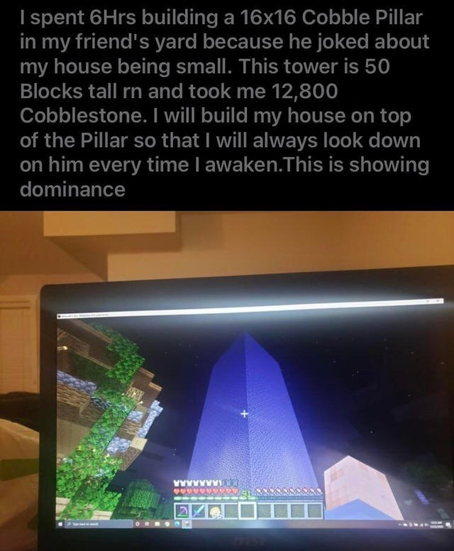 Display device - I spent 6Hrs building a 16x16 Cobble Pillar in my friend's yard because he joked about my house being small. This tower is 50 Blocks tall rn and took me 12,800 Cobblestone. I will build my house on top of the Pillar so that I will always look down on him every time I awaken.This is showing dominance