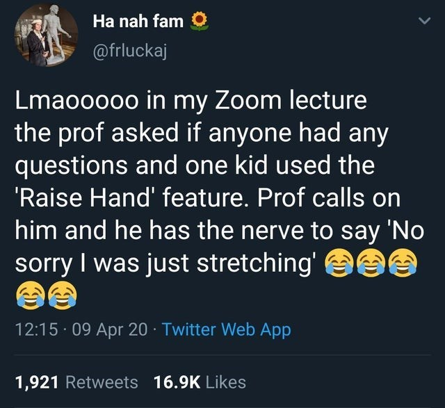 Text - Text - Ha nah fam O @frluckaj Lmaoo0oo in my Zoom lecture the prof asked if anyone had any questions and one kid used the 'Raise Hand' feature. Prof calls on him and he has the nerve to say 'No sorry I was just stretching' eee 12:15 · 09 Apr 20 · Twitter Web App 1,921 Retweets 16.9K Likes
