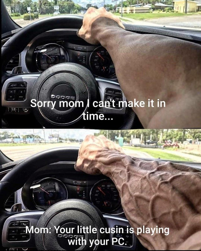 funny meme with a very veiny arm driving a car | sorry mom can't make it in time Your little cousin is playing with your pc
