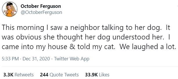 Text - October Ferguson @OctoberFerguson This morning I saw a neighbor talking to her dog. It was obvious she thought her dog understood her. I came into my house & told my cat. We laughed a lot. 5:33 PM · Dec 31, 2020 · Twitter Web App 3.3K Retweets 244 Quote Tweets 33.9K Likes