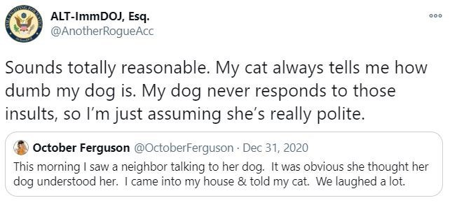 Text - ALT-IMMDOJ, Esq. @AnotherRogueAcc 000 Sounds totally reasonable. My cat always tells me how dumb my dog is. My dog never responds to those insults, so I'm just assuming she's really polite. O October Ferguson @OctoberFerguson Dec 31, 2020 This morning I saw a neighbor talking to her dog. It was obvious she thought her dog understood her. I came into my house & told my cat. We laughed a lot.