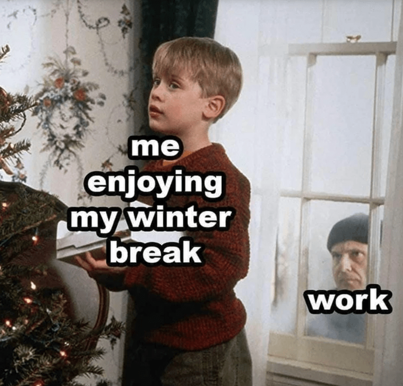 funny memes, memes, lol, holidays, work memes | thief looking in on Macaulay Culkin Kevin McCallister in Home Alone | me enjoying my winter break