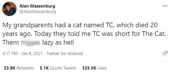 Text - Alan Massenburg @AlanMassenburg 000 My grandparents had a cat named TC, which died 20 years ago. Today they told me TC was short for The Cat. Them lazy as hell 4:17 PM - Jan 4, 2021 - Twitter for Android 33.8K Retweets 5.1K Quote Tweets 325.5K Likes