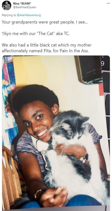 """Human - Nina *BEAM* @BaldHeadQueen Replying to @AlanMassenburg Your grandparents were great people, I see... 16yo me with our """"The Cat"""" aka TC. We also had a little black cat which my mother affectionately named Pita, for Pain In the Ass."""