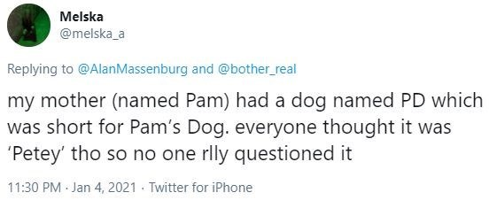 Text - Melska @melska_a Replying to @AlanMassenburg and @bother_real my mother (named Pam) had a dog named PD which was short for Pam's Dog. everyone thought it was 'Petey' tho so no one rlly questioned it 11:30 PM Jan 4, 2021 · Twitter for iPhone