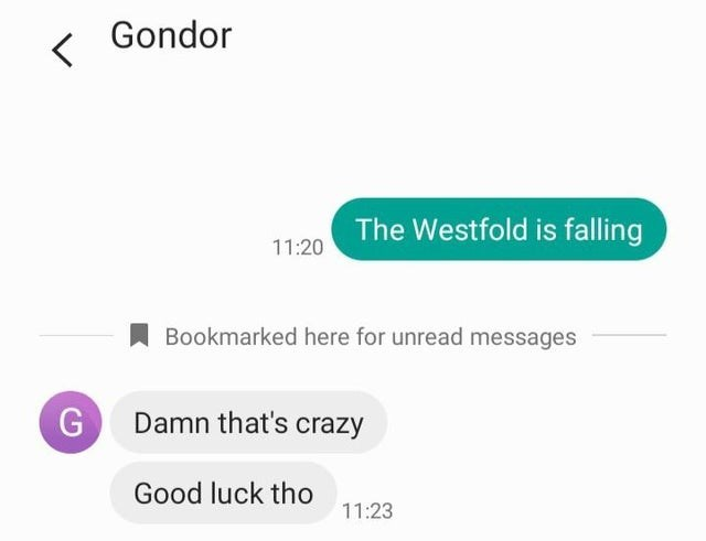 Text - Gondor The Westfold is falling 11:20 Bookmarked here for unread messages G Damn that's crazy Good luck tho 11:23