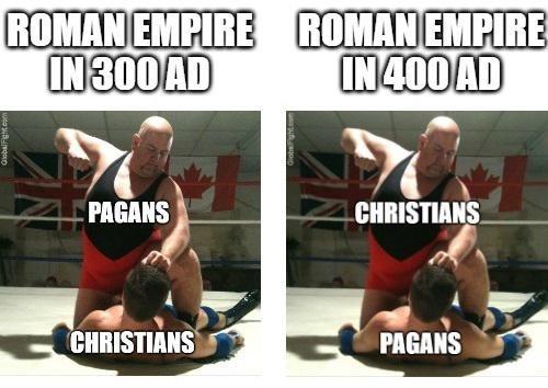 history meme - Arm - ROMAN EMPIRE ROMAN EMPIRE IN300 AD IN400 AD PAGANS CHRISTIANS CHRISTIANS PAGANS GlobalFigh