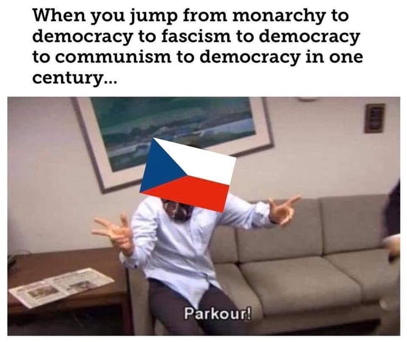 history meme - Finger - When you jump from monarchy to democracy to fascism to democracy to communism to democracy in one century.. Parkour!
