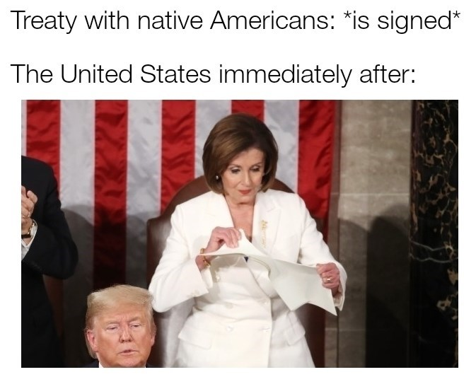 history meme - Photo caption - Treaty with native Americans: *is signed* The United States immediately after: