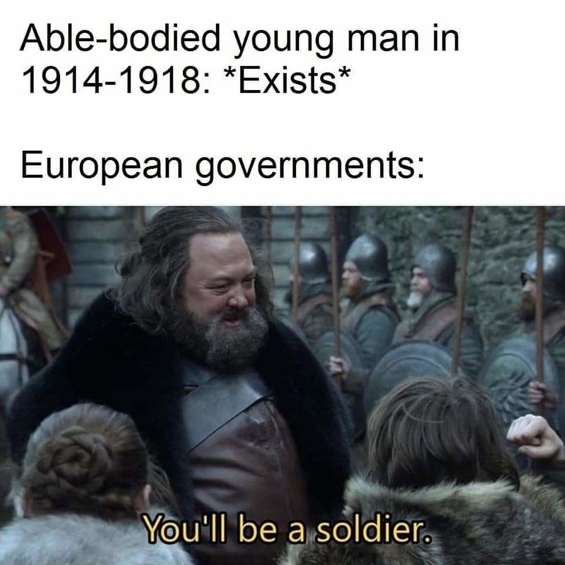 history meme - Human - Able-bodied young man in 1914-1918: *Exists* European governments: You'll be a soldier.