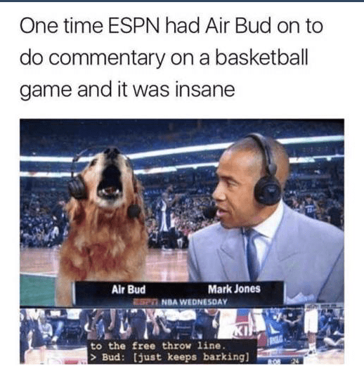 Display device - One time ESPN had Air Bud on to do commentary on a basketball game and it was insane Air Bud ESe NDA WEDNESDAY Mark Jones to the free throw line. > Bud: [just keeps barking]