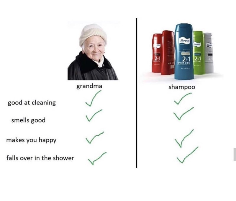 Facial expression - Shampoe 2-1 2-1 2-1 nsuk moorh ai grandma shampoo good at cleaning smells good makes you happy falls over in the shower