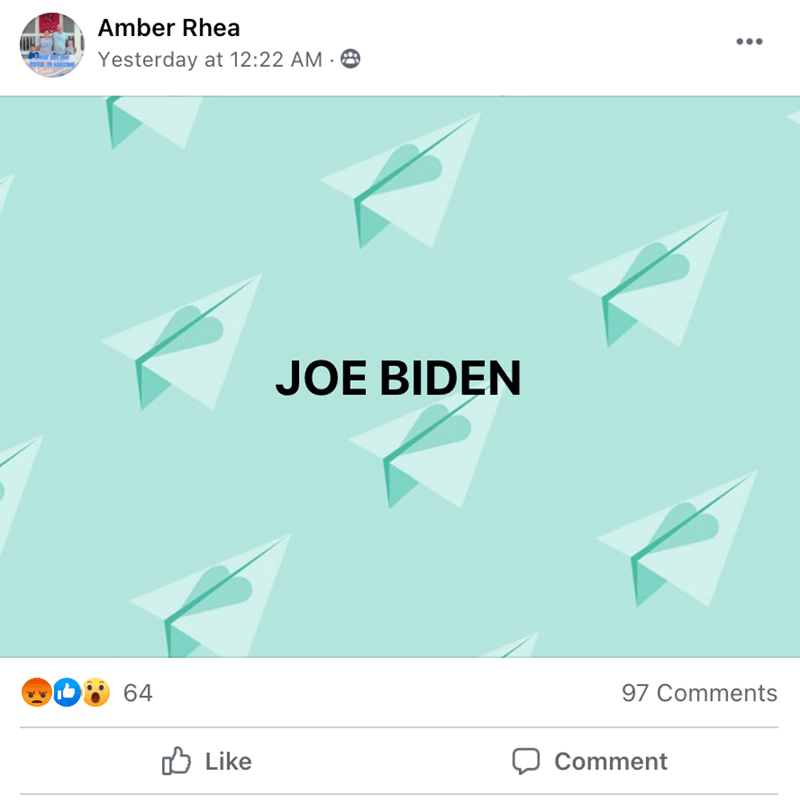 Blue - Amber Rhea Yesterday at 12:22 AM · 8 cove accine JOE BIDEN 64 97 Comments O Like Comment