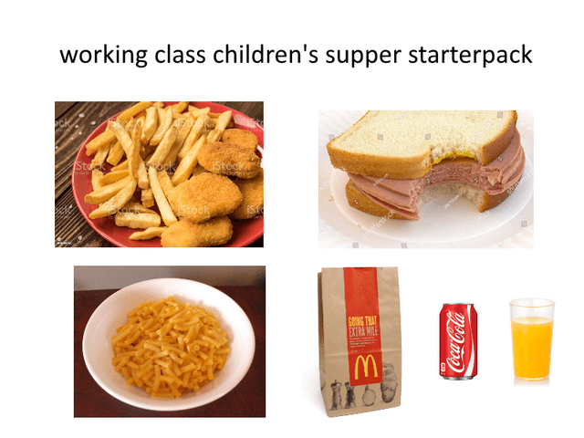 Food - working class children's supper starterpack Sto Aterstck GOING THAT EXTRA MILE CocaCola