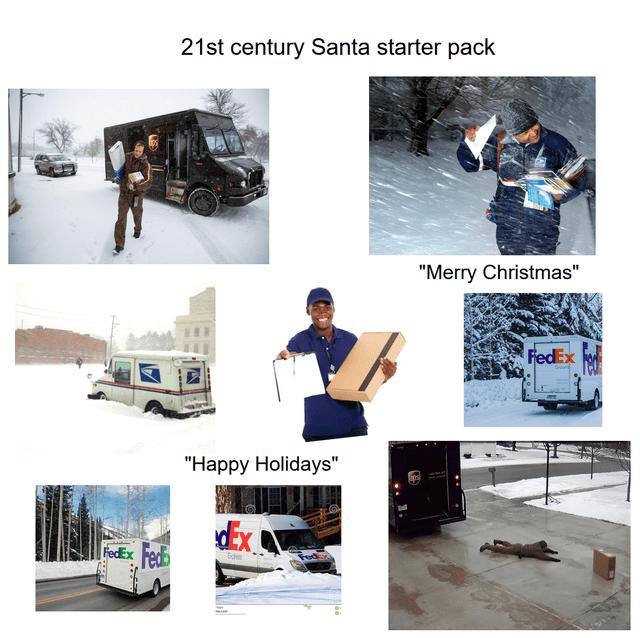 "Motor vehicle - 21st century Santa starter pack ""Merry Christmas"" FedEx ""Наpрy Holidays"" Ex Fedh FedEx"