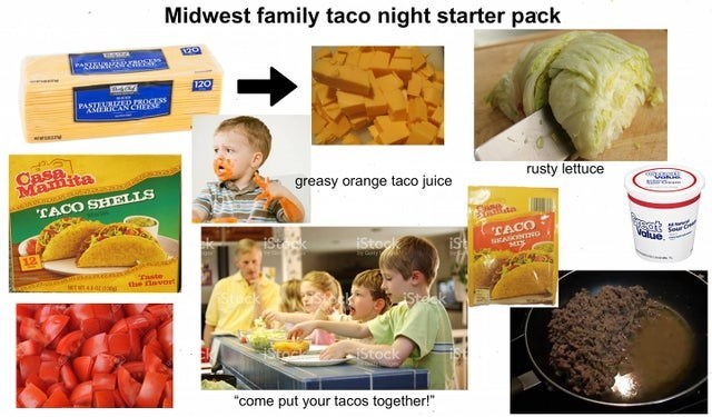 """Cuisine - Midwest family taco night starter pack VESA 170 O.PROCESS PASTAWMANC SE Casa Mamita greasy orange taco juice rusty lettuce """"TACO SHELLS ist k at Value TACO iStock ist ANONDNG MI Easte the avort Stock """"come put your tacos together!"""""""