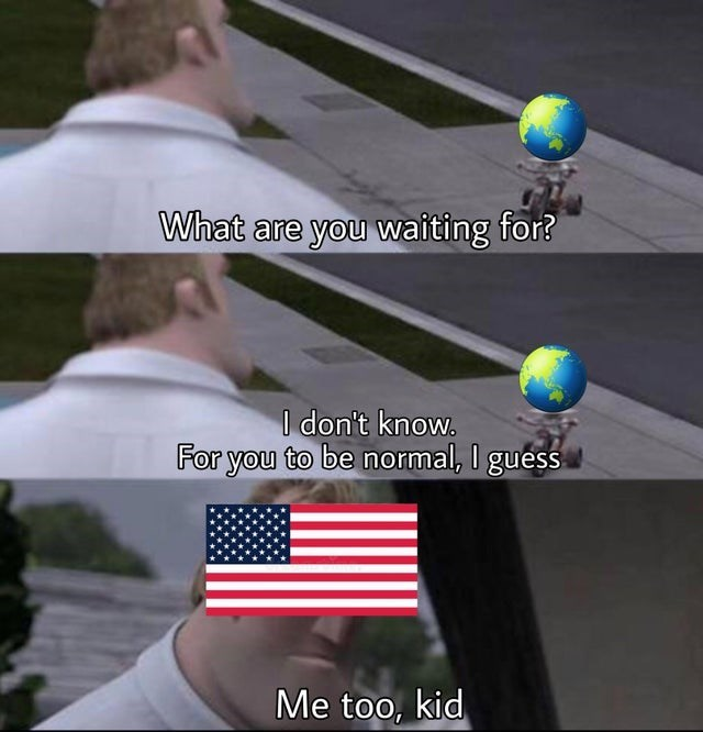 Funny meme using the incredibles, waiting for you to be normal, united states