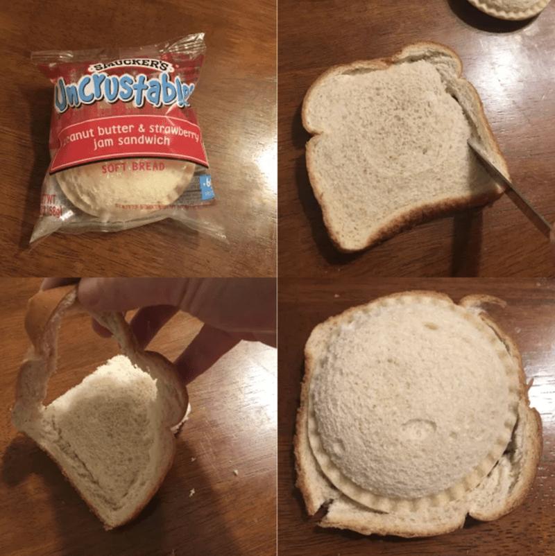 Food - AUGKER'S canut butter & strawberry jam sandwich SOFT BREAD