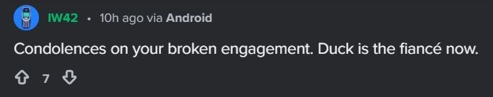 Text - IW42 10h ago via Android Condolences on your broken engagement. Duck is the fiancé now.