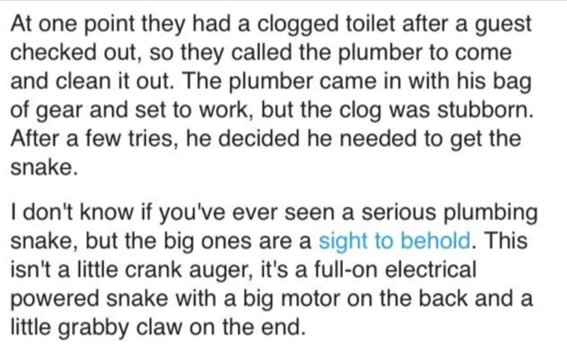 Text - At one point they had a clogged toilet after a guest checked out, so they called the plumber to come and clean it out. The plumber came in with his bag of gear and set to work, but the clog was stubborn. After a few tries, he decided he needed to get the snake. I don't know if you've ever seen a serious plumbing snake, but the big ones are a sight to behold. This isn't a little crank auger, it's a full-on electrical powered snake with a big motor on the back and a little grabby claw on th