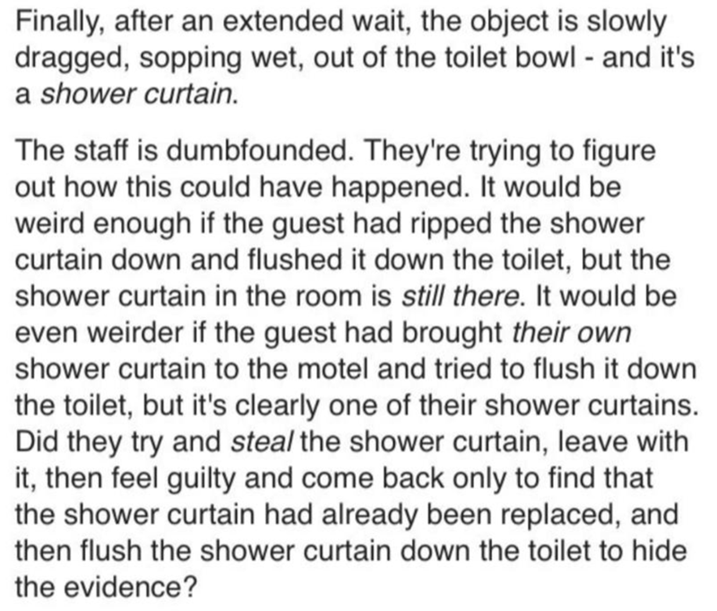 Text - Finally, after an extended wait, the object is slowly dragged, sopping wet, out of the toilet bowl - and it's a shower curtain. The staff is dumbfounded. They're trying to figure out how this could have happened. It would be weird enough if the guest had ripped the shower curtain down and flushed it down the toilet, but the shower curtain in the room is still there. It would be even weirder if the guest had brought their own shower curtain to the motel and tried to flush it down the toile