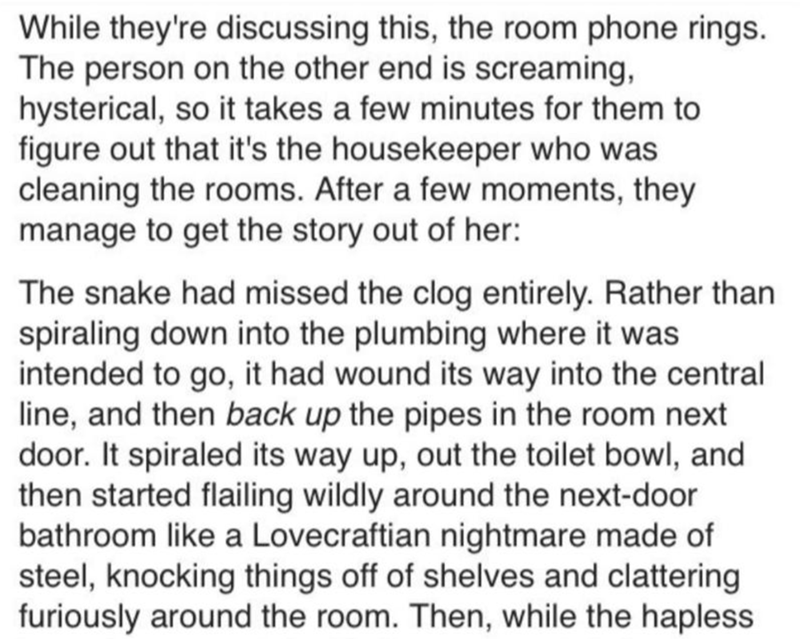Text - While they're discussing this, the room phone rings. The person on the other end is screaming, hysterical, so it takes a few minutes for them to figure out that it's the housekeeper who was cleaning the rooms. After a few moments, they manage to get the story out of her: The snake had missed the clog entirely. Rather than spiraling down into the plumbing where it was intended to go, it had wound its way into the central line, and then back up the pipes in the room next door. It spiraled i