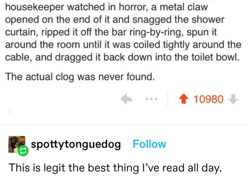 Text - housekeeper watched in horror, a metal claw opened on the end of it and snagged the shower curtain, ripped it off the bar ring-by-ring, spun it around the room until it was coiled tightly around the cable, and dragged it back down into the toilet bowl. The actual clog was never found. 10980 spottytonguedog Follow This is legit the best thing l've read all day.