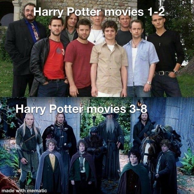 People - Harry Potter movies 1-2. Harry Potter movies 3-8 made with mematic