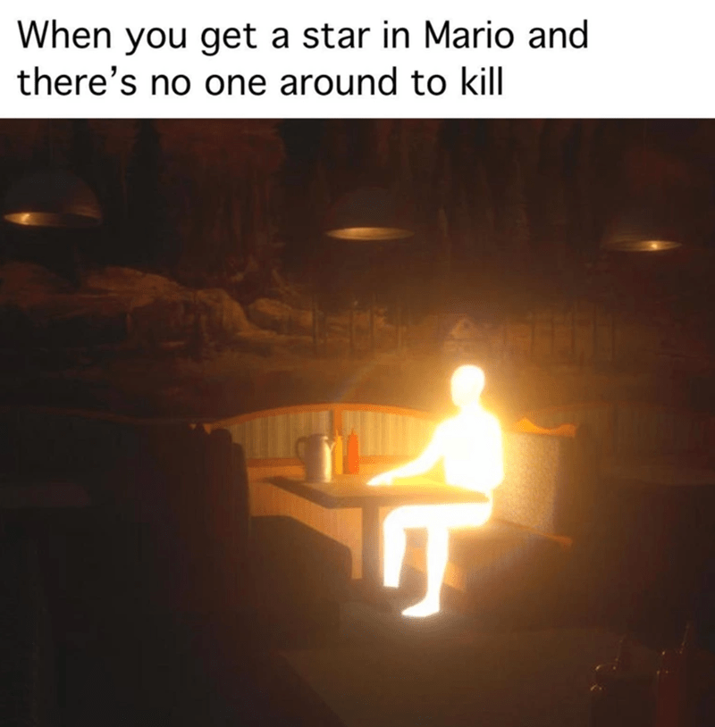 mario kart, funny memes, memes, gaming memes | When you get a star in Mario and there's no one around to kill glowing human shaped