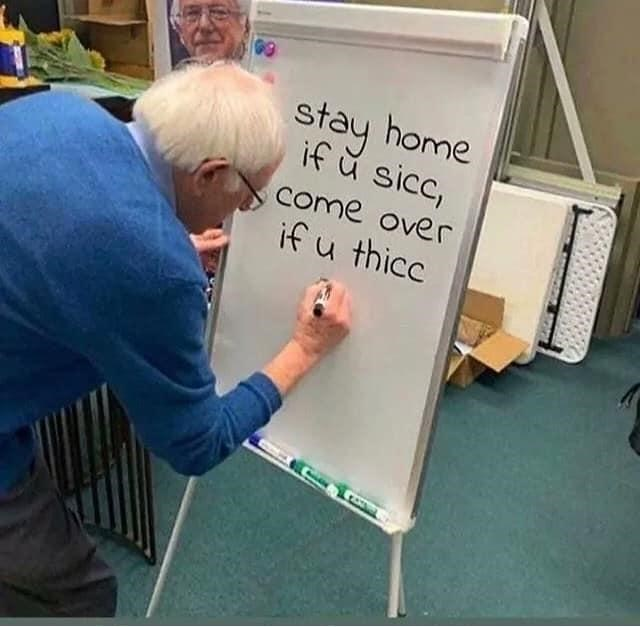 Easel - stay home if ŭ sicc, come over if u thicc