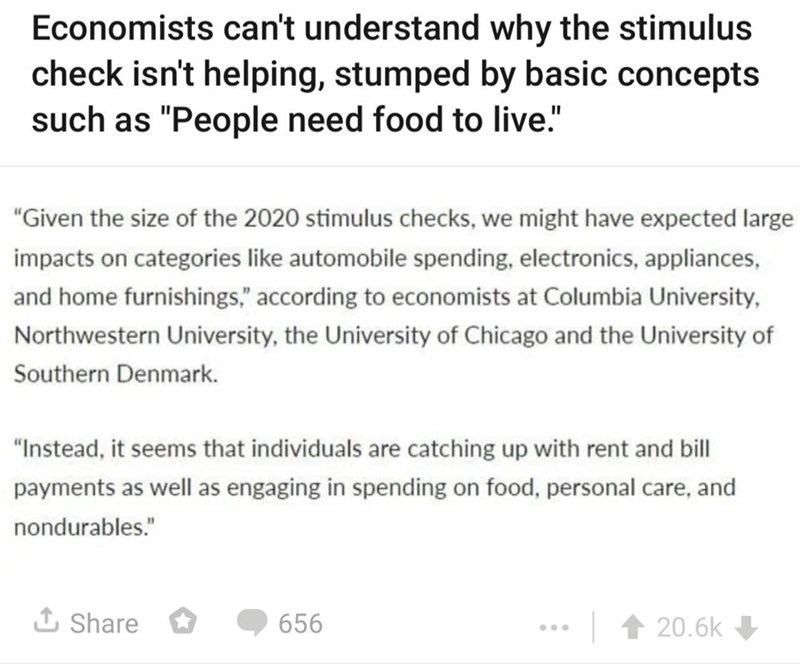 Font - Economists can't understand why the stimulus check isn't helping, stumped by basic concepts such as