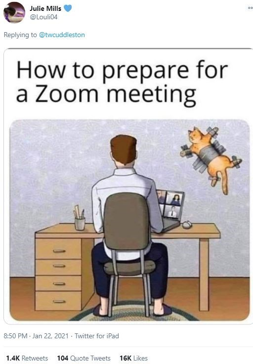 Furniture - Julie Mills 00 @Louli04 Replying to @twcuddleston How to prepare for a Zoom meeting 8:50 PM · Jan 22, 2021 - Twitter for iPad 1.4K Retweets 104 Quote Tweets 16K Likes