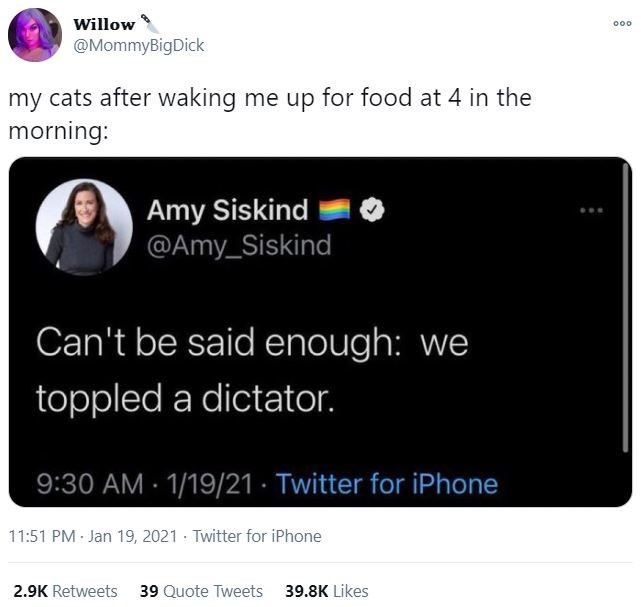 Font - Willow 000 @MommyBigDick my cats after waking me up for food at 4 in the morning: Amy Siskind @Amy_Siskind Can't be said enough: we toppled a dictator. 9:30 AM · 1/19/21 · Twitter for iPhone 11:51 PM Jan 19, 2021 Twitter for iPhone 2.9K Retweets 39 Quote Tweets 39.8K Likes
