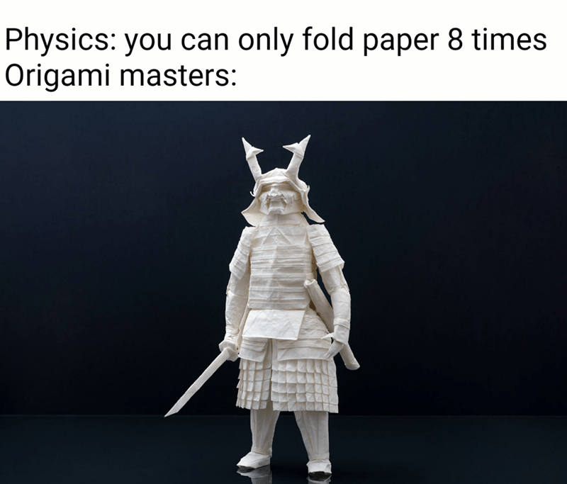 Sleeve - Physics: you can only fold paper 8 times Origami masters: