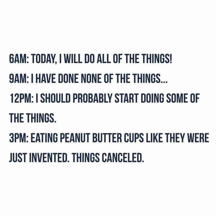 Font - 6AM: TODAY, I WILL DO ALL OF THE THINGS! 9AM: I HAVE DONE NONE OF THE THINGS... 12PM: I SHOULD PROBABLY START DOING SOME OF THE THINGS. 3PM: EATING PEANUT BUTTER CUPS LIKE THEY WERE JUST INVENTED. THINGS CANCELED.
