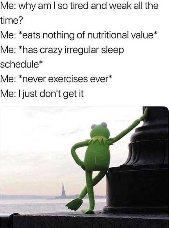 Organism - Me: why am I so tired and weak all the time? Me: *eats nothing of nutritional value* Me: *has crazy irregular sleep schedule* Me: *never exercises ever* Me: I just don't get it
