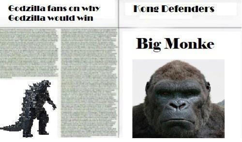 Primate - Godzilla fans on why Kong Defenders Godzilla would win Big Monke