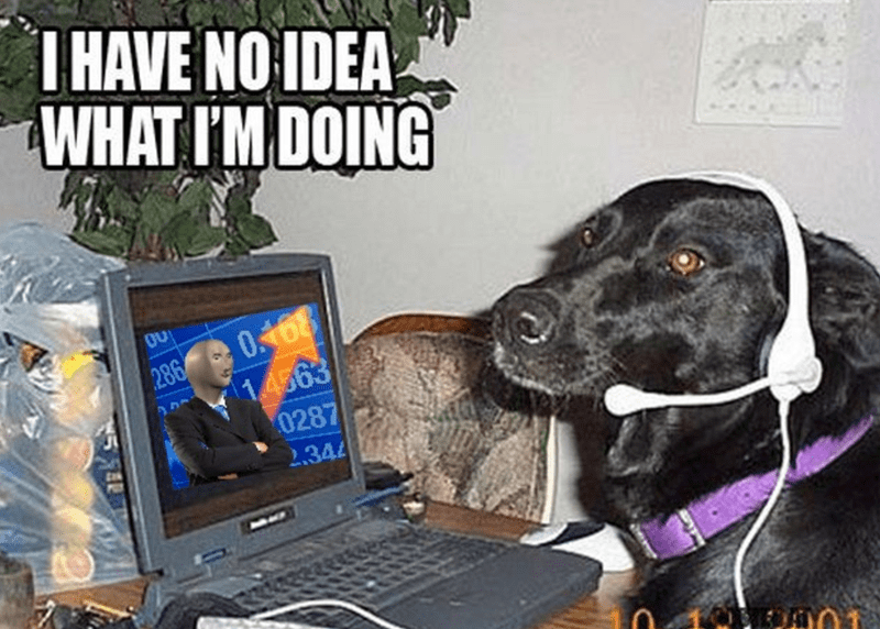 funny meme about the stock market | I HAVE NO IDEA WHAT I'M DOING dog wearing a headset sitting in front of a computer showing the stonks meme