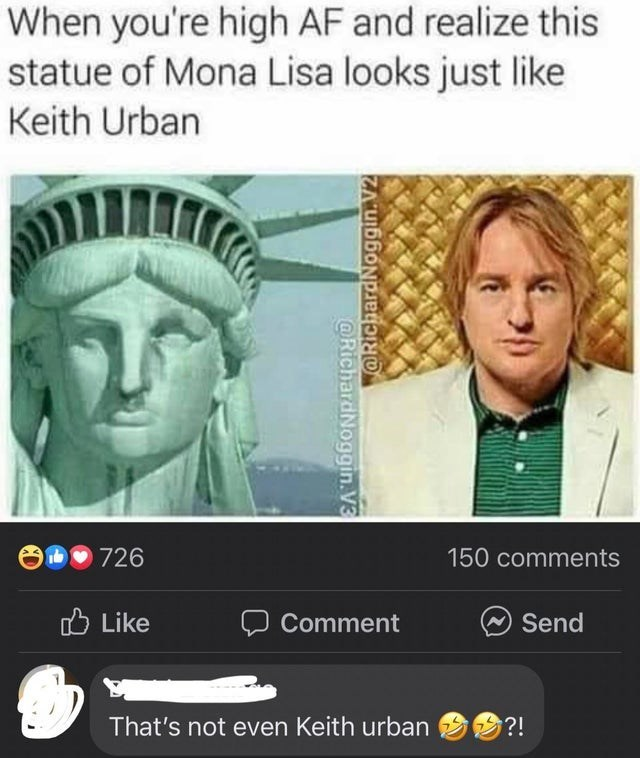 Hair - When you're high AF and realize this statue of Mona Lisa looks just like Keith Urban 726 150 comments O Like Comment Send That's not even Keith urban ?! @RichardNoggin.V2 @RichardNoggin.V3