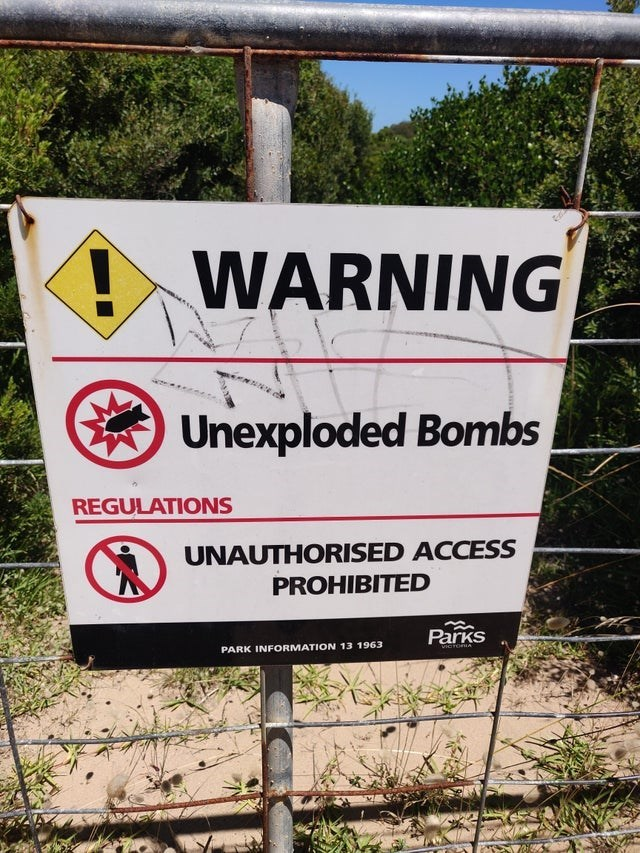 Plant - ! WARNING Unexploded Bombs REGULATIONS UNAUTHORISED ACCESS PROHIBITED Parks PARK INFORMATION 13 1963 VICTORIA