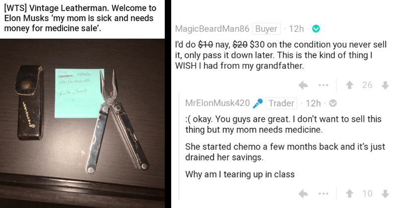 Kind redditors from r/knifeswap donate money to student who is trying to pay for his mother's medical bills, paypal