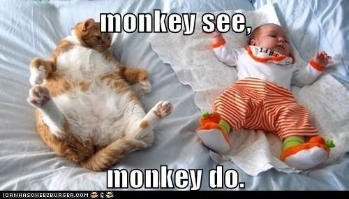 monkey see monkey do | funny pic of a chonky cat and a baby lying on their backs in a similar position
