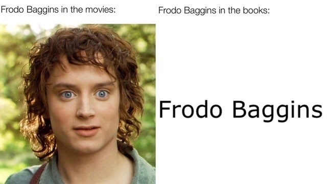 Forehead - Frodo Baggins in the movies: Frodo Baggins in the books: Frodo Baggins