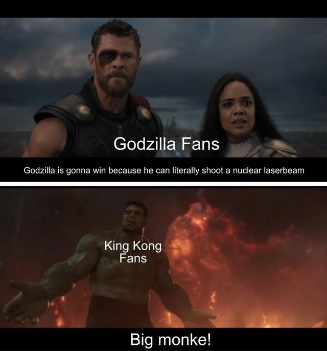 Funny meme about Godzilla vs. Kong movie, using marvel characters, the hulk, thor, valkyrie, big monke