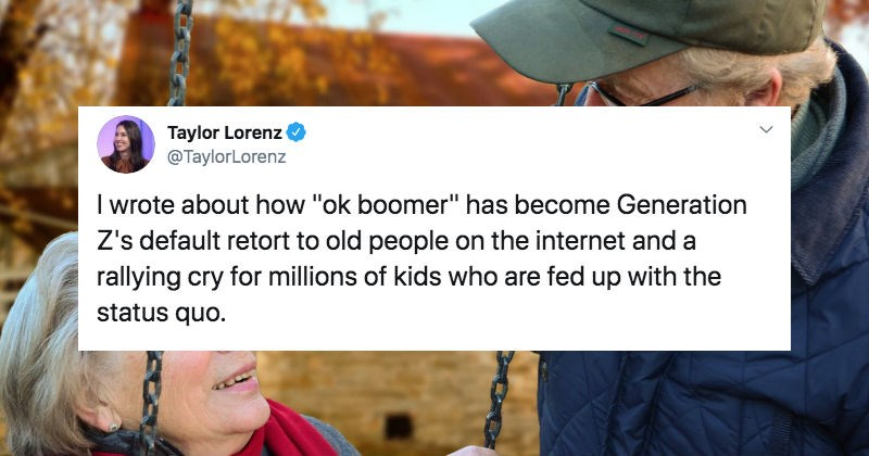 "A collection of Twitter users react to ""Ok Boomer"" phrase about the generation going viral."