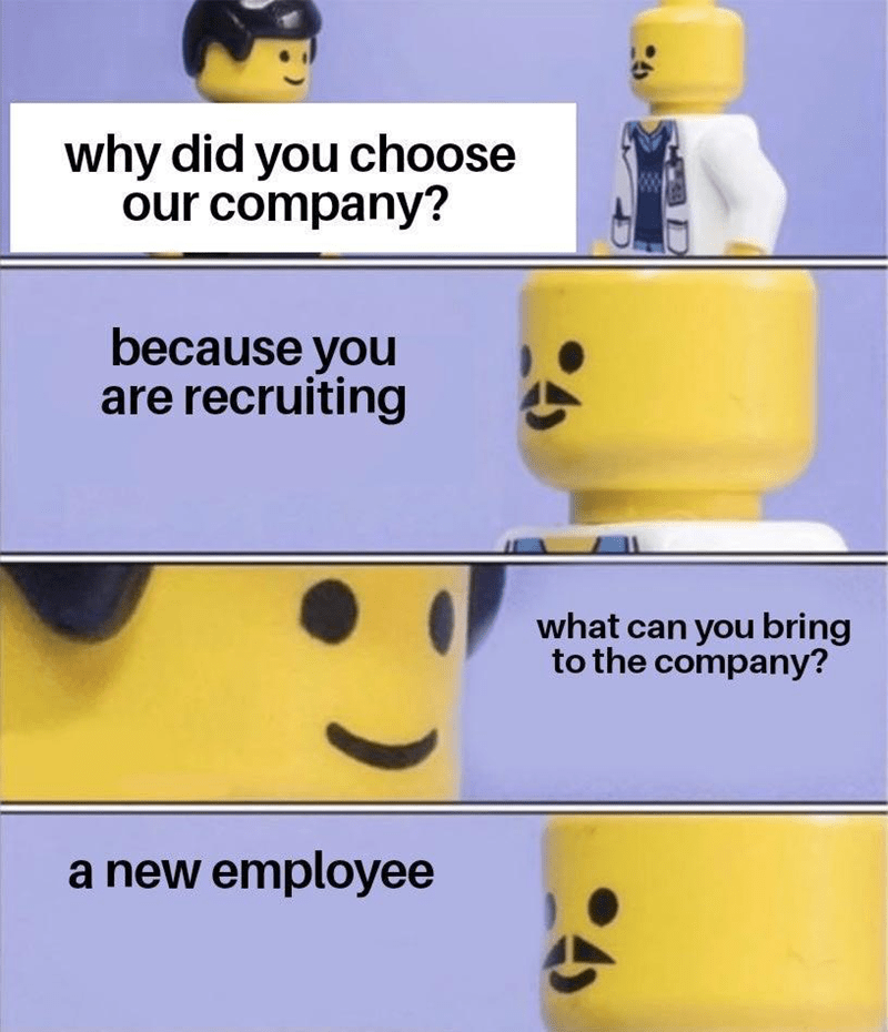 Forehead - Facial expression - why did you choose our company? because you are recruiting what can you bring to the company? a new employee