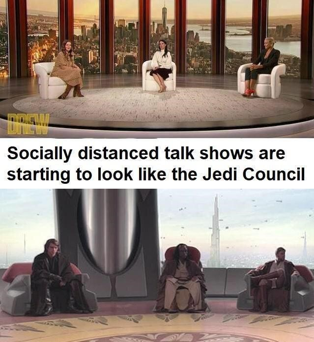 Photograph - Socially distanced talk shows are starting to look like the Jedi Council