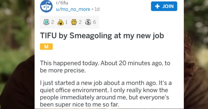 An employee embarrasses himself by talking like Smeagol in front of his coworkers at his job.